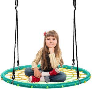 COSTWAY Ø100cm Nestschaukel Spinnennetz Kinderschaukel, Rundschaukel 100-160cm Seil, Baumschaukel 150kg Tragkraft, Tellerschaukel Hängeschaukel (Grün)
