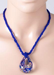 6-reihige blau goldfarbene Muranoglaskette Muranoglasanhänger Silber 925 vergoldet Damenschmuck 50