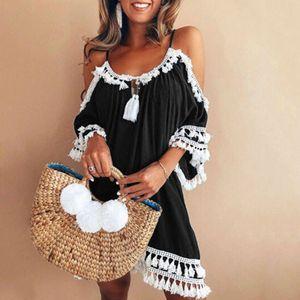 Frauen Schulterfrei Kleid Quaste Kurze Cocktailparty Strandkleider Sommerkleid Größe:XXXXXL,Farbe:Schwarz