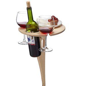 Klappbarer Weinregal Weintisch Im Freien Mit Tisch - Tragbarer Picknicktisch, Weinglasgestell, Zusammenklappbarer Tisch Für Den Außenbereich, Garten, Reisen
