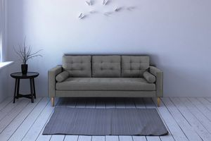 SIT Möbel Sofa 3-Sitzer in Leinenoptik mit Beinen aus Birke |B205 x T80 x H92 cm|06040-21|Serie SIT4SOFA