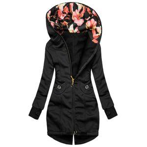Frauen Mode Blumendruck Jacke Reißverschluss Tasche Sweatshirt Langarm Mantel Größe:XL,Farbe:Schwarz