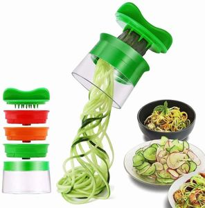 Spiralschneider Hand für Gemüsespaghetti, 3-in-1 Gemüse Spiralschneider