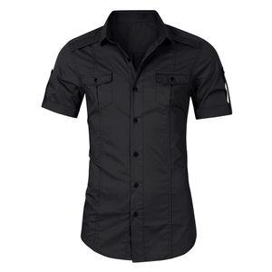 Mode Maenner Sommer einfarbiges Hemd Turn-Down-Kragen Kurzarm Button Pocket Casual Shirt