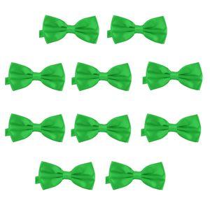 10er Set DonDon Herren Fliege 12 x 6 cm gebunden und längenverstellbar grün