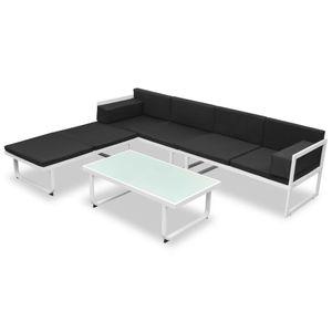 anlund 4-tlg. Garten-Lounge-Set mit Auflagen Aluminium Schwarz