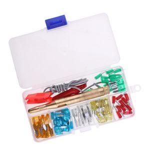 60 Stücke Mini KFZ Sicherungen Set Autosicherung Flachsicherung 5 - 30 A für Auto KFZ , mit Circuit Tester Pen