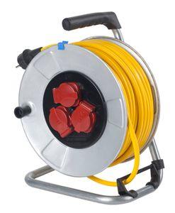 as - Schwabe 10343 Metall-Kabeltrommel 25m Leitung K35 IP44 Profi-Leitungsroller für Garten, Rasenmäher und Outdoor