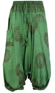 Goa Pluderhose, Hare Krishna Mantra Aladinhose - Grün, Herren, Viskose, Hosen