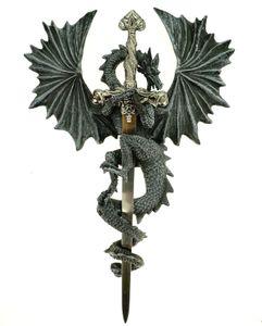 Fliegender Drachen Brieföffner Figur Deko Wandverzierung Schwert