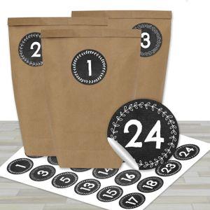 Adventskalender zum Befüllen - 24 braune Papiertüten und 24 Schwarze Tafeloptik Zahlenaufkleber - zum Selbermachen und Befüllen - Mini Set Nr 45 - Weihnachten 2019