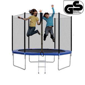 Ø 305cm/10ft Trampolin Fitness Rebounder mit Sicherheitsnetz und Leiter /Randabdeckung ,Kinder Garten Trampoline,Max 150kg ,Blau