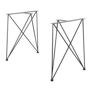 [en.casa] 2x Tischgestell 62x22x72cm Schwarz DIY Esstisch Hairpin Leg Tischuntergestell Tischkufen Tischbein Stahl