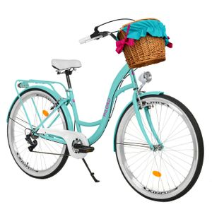 Milord Komfort Fahrrad Mit Weidenkorb Damenfahrrad, 26 Zoll, Wasserblau, 7 Gang Shimano