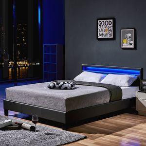 LED Bett ASTRO - 160 x 200 cm Dunkelgrau