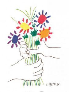 Pablo Picasso Poster Kunstdruck - Hände Mit Bouquet, 1958 (80 x 60 cm)