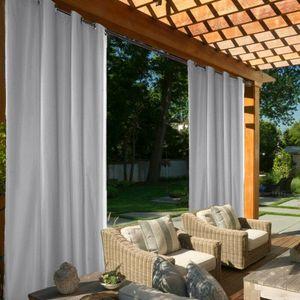 Wasserdicht Outdoor Vorhänge Gartenlauben Balkon-Vorhänge Gardinen Verdunkelungsvorhänge UVschutz,Grau,137x213cm