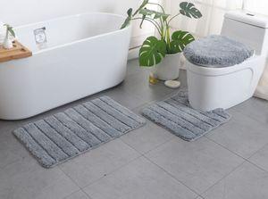3tlg Badematten Set - Streifen Eppich Badvorleger Badteppich Toilettenbezug Badezimmermatte,Grau
