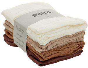 Pippi hydrophile Tücher Organic 65 cm Baumwolle weiß/braun 8 Stück