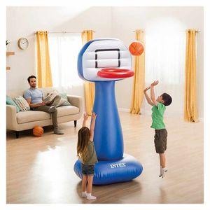 Intex 57502 Basketballkorb Aufblasbar mit Ball für Haus und Garten Shootin HoopsHöhe (cm): 208, Breite (cm): 104, Zusammensetzung: Vinyl, 2 Ballons inkl., Länge (cm): 97, EAN: 6941057407616