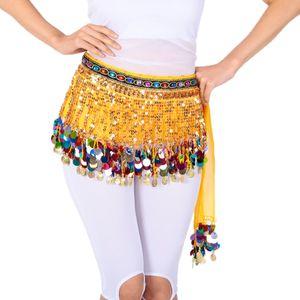 Bauchtanz Kostüm Set Anzug Indische Tänzer Leistung Bunte Edelsteingürtel Farbe Gelb