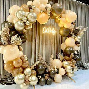 102 stücke kaffee braun gold ballonbogen kit girlande zeremonie hochzeitsfeier dekoration Luftballons zur Geburtstagsfeier