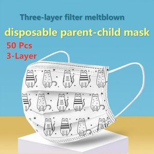 50 stk 3-Lagige Einweg Kinder Mundmaske Mit schmelzgeblasenem Tuch nicht gewebt Schutzmaske Mundschutz