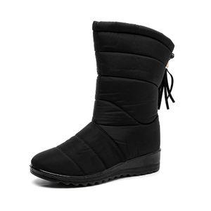 Wasserdichte Winter-Schneestiefel Für Damen Keilabsatz Pelzfutter Warme Stiefel,Farbe:Schwarz,Größe:41