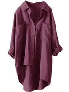 Damen Taschen Plain Bluse Tops Damen Baggy Langarm T-Shirt,Farbe: Purpur,Größe:5XL