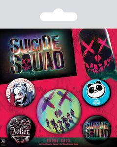 Suicide Squad Button Pack - Harley Quinn, 1 X 38mm & 4 X 25mm Buttons (15 x 10 cm)