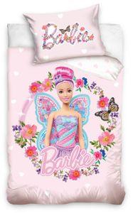 Barbie Bettwäsche Baby 100x135 cm Herzen Blumen rosa Renforce Baumwolle Wende