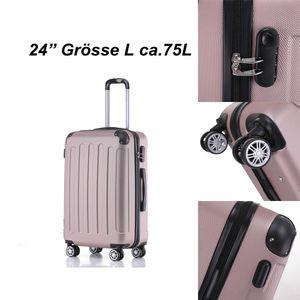 Reise Koffer Hartschalenkoffer Trolley Reisekoffer L Rosa-Gold  4 Rollen Roll-Koffer Handgepäck