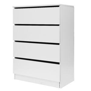 Kommode mit 4 Schubladen Highboard Sideboard, Mehrzweckschrank,Wohnzimmer,70x35x97cm Weiß