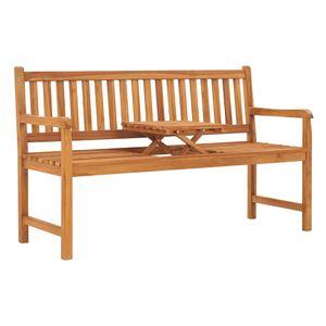 Eleganter- 3-Sitzer-Gartenbank,Sitzbank,Gartenmöbel,Parkbank,1-3-Personen mit Tisch 150 cm Teak Massivholz🦩7545