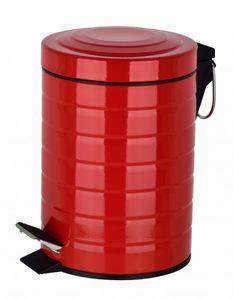 Mülleimer Treteimer Abfalleimer Müllsammler Kosmetikeimer Badeimer Metall 3 L, Farbe:Rot