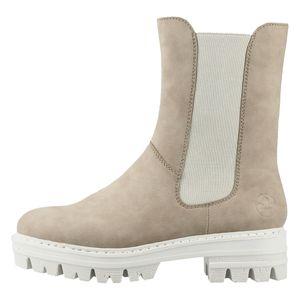 Rieker Damen Chelsea Boots Blockabsatz Stiefeletten 76190, Größe:40 EU, Farbe:Beige