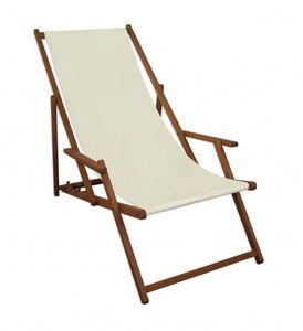 Liegestuhl weiß Gartenliege klappbare Sonnenliege Deckchair Strandstuhl Holz Gartenmöbel 10-303