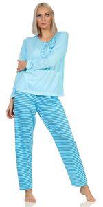 Damen Pyjama lang zweiteiliger Schlafanzug,  Türkis XL