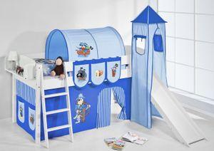 Lilokids Spielbett IDA 4105 Pirat Blau - Teilbares Systemhochbett - weiß - mit Turm, Rutsche und Vorhang - Maße: 113 cm x 208 cm x 98 cm; IDA4105KWTR-PIRAT-BLAU-S