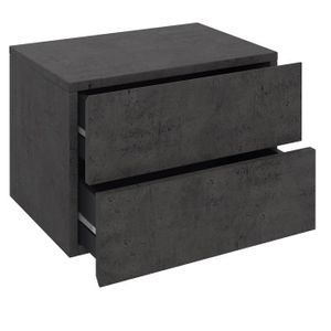 Wandregal ANNI mit 2 Schubladen in Betonoptik dunkel