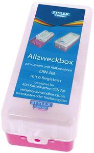 Lernbox Karteikasten DIN A8 für Karteikarten pink