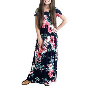 Blumendruck Kinder Mädchen Kurzarm Sommer Casual Langes Maxikleid Mit Tasche,Marineblau, 100 cm