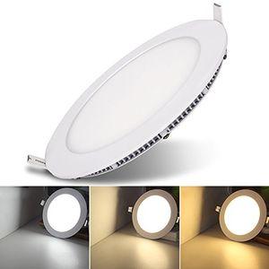 karpal 10X 6W LED Einbaustrahler Rund Panel Ultra Flach Einbaustrahlen mit Trafo Panellampe 3 in 1 Farbwechsel 3000-6500K Deckenleuchte Einbauleuchte