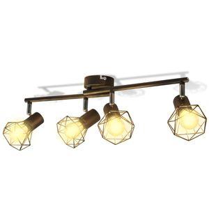 vidaXL Deckenstrahler Industrie-Stil Drahtgestell + 4 LED-Glühlampen schwarz
