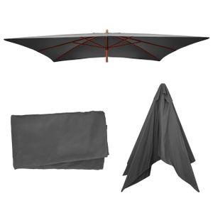 Bezug für Sonnenschirm Florida, Sonnenschirmbezug Ersatzbezug, 3x4m Polyester 6kg  anthrazit