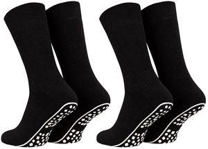 Tobeni 2 Paar Home Socks ABS Stoppersocken Anti-Rutsch Baumwolle Socken für Damen und Herren, Farbe:Schwarz, Grösse:47-50