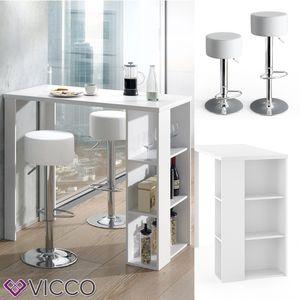 VICCO Bartisch NOEL Tresentisch Tisch Ablagefächer 120 x 105,6 x 60 cm Weiß inkl. 2 Barhocker