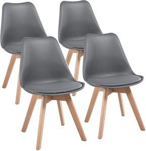 Futurefurniture.® 4er Set Esszimmerstühle mit Massivholz Buche Bein, Retro Design Gepolsterter Stuhl Küchenstuhl-Grau