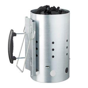 Anzündkamin Grill XXL Kohlestarter Grillanzünder Zink mit Hitzeschild und Kipphilfe