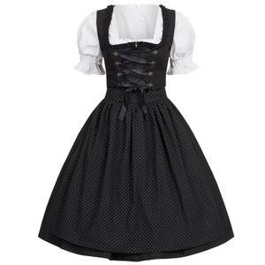 Dirndl 3 tlg.Trachtenkleid Kleid, Bluse, Schürze, Gr. 34-46 schwarz 42